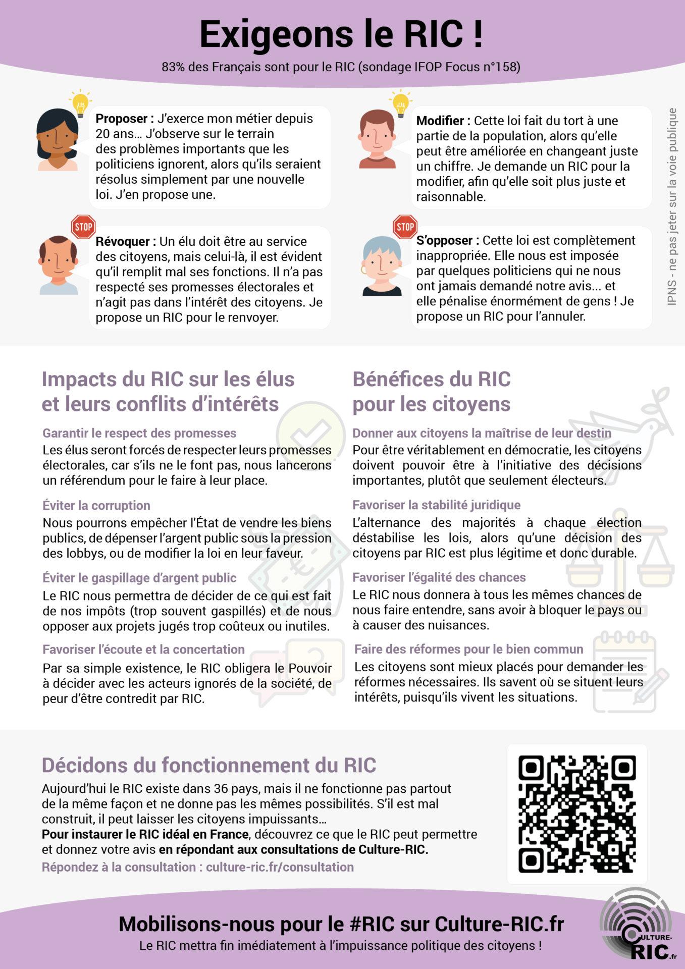 meilleur tract flyer ou affiche imprimable gilet jaune exigeons le RIC (Référendum d'Initiative Citoyenne) verso